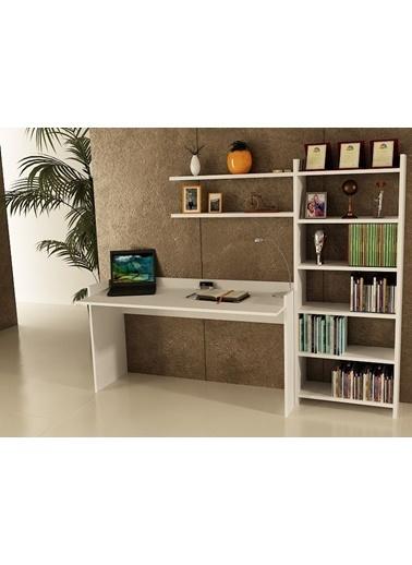 Sanal Mobilya Sirius Kitaplıklı 2 Raflı Çalışma Masası 140-7-6B Beyaz